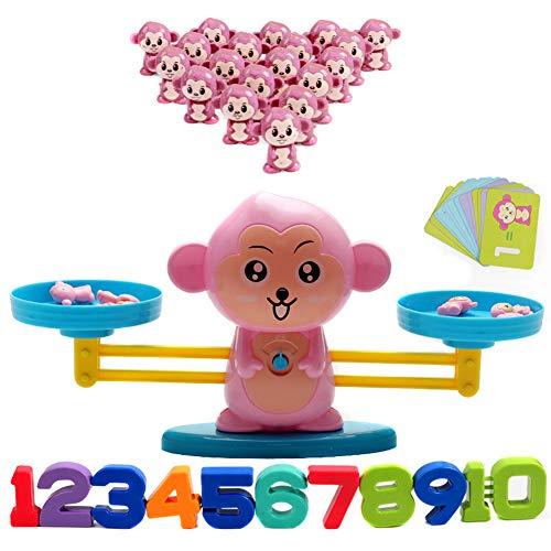 Ran.Bao Juguete Digital Balanza,Mono Equilibrar Juego de Matemáticas, Juguete Educativo de Niños Números Tarjetas et Suma y Resta Juego Divertido Math Scales Toys,Rosado