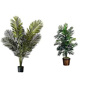 """Silk Flower Arrangements Nearly Natural 5ft. Paradise Palm Artificial Plant, 46x44x60, Green & 5263-0308 56in. Areca Palm Silk Tree with Basket,Green,10"""" x 10"""" x 48"""""""