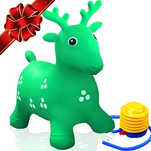Ruffio Inflatable Bouncer Cutest Bouncy Hopper Toys for Kids. Come As Animal Shape As Deer, Horse, Dog and Cow. Heavy Duty Materials Which are Safe to Ride-on. Pump Included + Bonus!