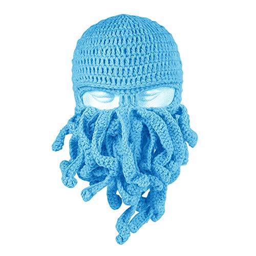 Octopus - Gorro de punto para invierno, unisex, para barba, resistente al viento, cara de esqu para hombres y mujeres