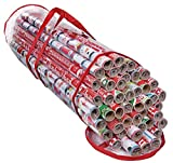ProPik Gift Wrap Organizer, Wrapping Paper Storage Bag, Fits Holiday Papers 40 Inch Long, Holds Up To 24 Rolls, Heavy Duty Clear PVC Bag with Handles (Red & Clear)