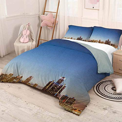 HELLOLEON (Queen) Detroit 3-Pack (1 Duvet Cover and 2 Pillowcases) Bedding Michigan Skyline at Twilight Waterfront Lively City Serene Calm Travel Destination Polyester Multicolor