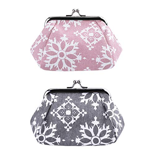 Oyachic 2 Packs Vintage Coin Purses Coin Pouches Change Purses with Clasp Floral Clutch Purses Woman Travel Wallets (pink+gray)
