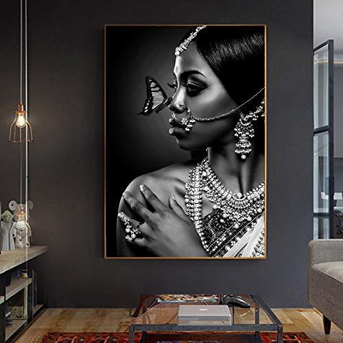 wZUN Mujer India en Blanco y Negro con Cartel de Mariposa e impresión de Lienzo artístico en la Imagen de la Pared en la Sala de Estar 50X75CM