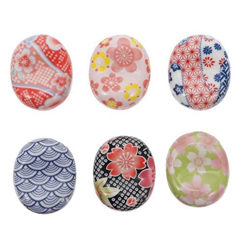 Garneck 6 Unids Japonés Perilla de Cajón de Cerámica Decorativa Flor Gabinete Tirador Perillas de Armario Manija Armario Tocador Muebles Accesorios