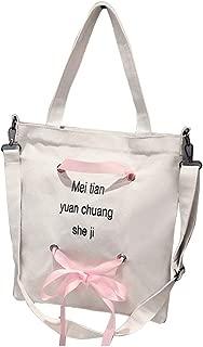 Bow Ribbon Gift Canvas Tote Handbag Shoulder Bag Crossbody Bags Purses for Women Shopping Tote Korean Fashion Diagonal Handbag - White