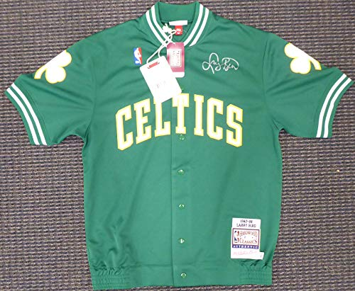 Boston Celtics Larry Bird Autographed Authentic Green Mitchell & Ness Shooting Shirt Jacket Size L Beckett BAS Stock #177718