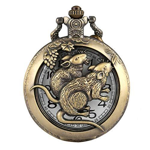DZX Reloj de Bolsillo clásico de Bronce con Caja de Rata para Hombres, Relojes de Bolsillo con diseño de Tema del Zodiaco Chino Tradicional para Hombres, cómodo Reloj Colgante de Cadena Delgada