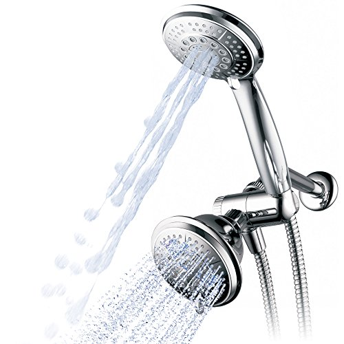 Hydroluxe 1433 Handheld Showerhead & Rain Shower Combo. High Pressure 24 Function 4' Face Dual 2 in 1 Shower Head System with Stainless Steel Hose, Patented 3-way Water Diverter in All-Chrome Finish