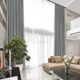 TWOPAGES Heavyweight Blackout Velvet Curtain Extra Long Loft Curtain Thermal Insulated Pinch Pleat Living Room Curtain Door Drape (Grey, 60 x 132 Inches, 1 Panel)