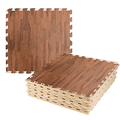 Interlocking Foam Tiles 24 X 24 inch Wood Grain Floor Mats for Children Kids Baby Non Toxic Puzzle Exercise Mat (12 Packs)