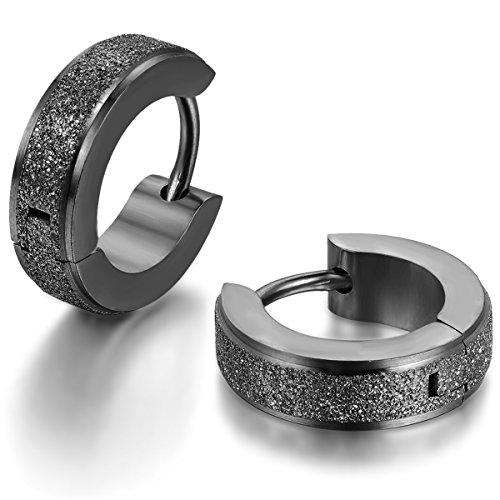 JewelryWe Schmuck Herren Damen Ohrringe, Edelstahl, Sandgestrahlt Creolen Hoop Huggie Ohrstecker, Schwarz