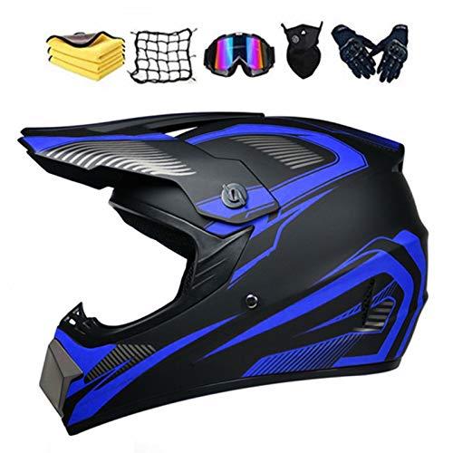 MNBVC Kids Motorcycle Helmet, Youth ATV Helmet,Dirt Bike Helmets,DOT Motocross Helmet,with 4 Sizes Universal Helmet,6 Piece Set (Blue)