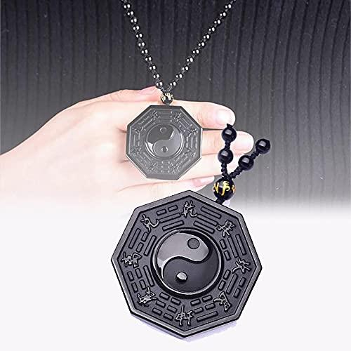 HUANYINGNI Obsidian Yin Yang Necklace,Yin Yang Pendant Obsidian Crystal,Black Obsidian Eight Diagrams Yin Yang Pendant Necklace,Yin Yang Amuleto, Bagua, Trigrama, DragóN Y Phenix 1pcs