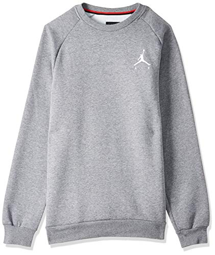 Nike Herren Jumpman Fleece Crew Sweatshirt S Carbon Heather/White