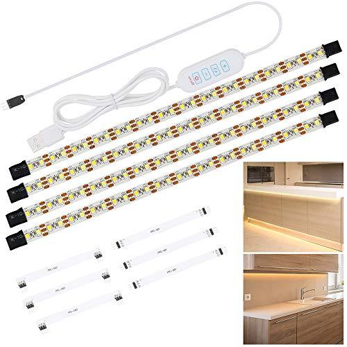 Anpro Tiras de Luces,Luz del Armario,Tiras 240 Leds,2M,Luz Pegado con USB para Gabinete,Cocina,Armario,Pasillo,Baño,Escritorio,Blanco Cálido