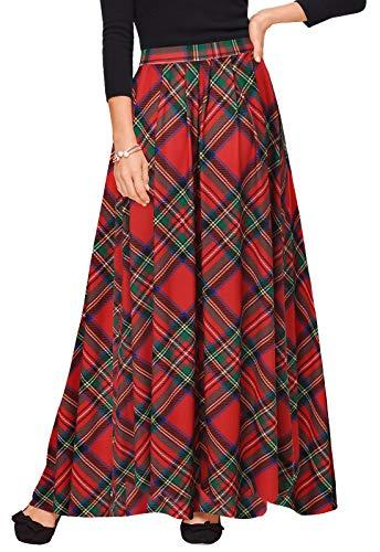 Zattcas Women High Waist Pleated Long Skirt Winter Plaid Maxi Skirt with Pockets,Red,Small