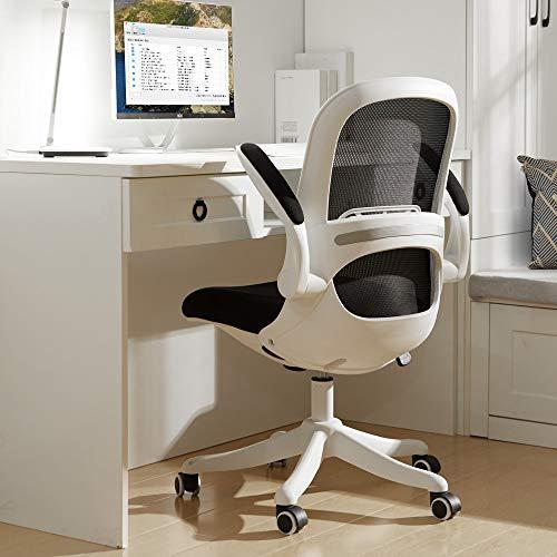 BERLMAN Silla de oficina ergonómica de malla con brazos abatibles y altura ajustable para escritorio, silla de ancla, silla para estudiante (blanco y negro)