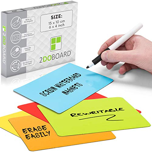 25 Beschreibbare Magnete 15 x 10 cm für Kanban Board oder Scrum Tafel - Scrum Karten für Whiteboard - Magnete zum beschriften - Magnetic Notes für Planungstafeln (Mix 5 Farben)