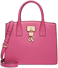 DKNY ELISSA Coral Pebbled Leather Split With Charm Detail Large Satchel