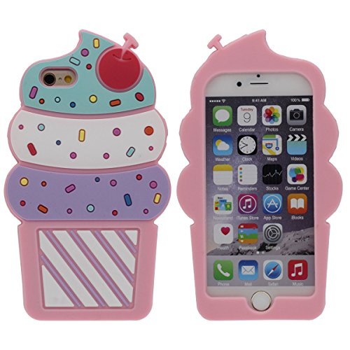 "Vistoso Helado Apariencia iPhone 6 Plus Carcasa, Funda iPhone 6S Plus 5.5"" Estilo chica, Muy suave Silicona Case - Rosa"