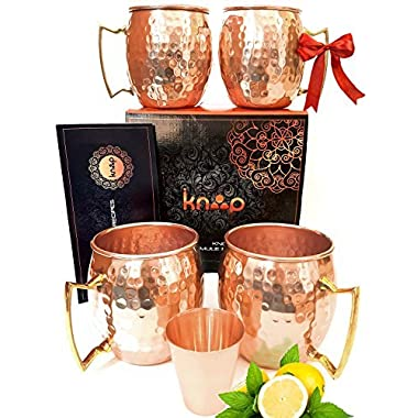 Premium Moscow Mule Mugs Set of 4, Handcrafted, Hammered Copper Construction for Timeless, Elegant Gift – 16oz Unlined, Copper Cups +FREE Recipe Book and Cocktail Party Guide by Knooop