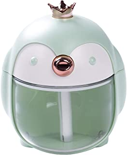 USB LED Ultrasonic Aroma Diffuser Air Purifier Humidifier Cute Penguin Shaped Air Diffuser Atomizer for Office Home Bedrooms (Green, 4.8''x 4''x 3.47'')
