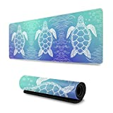 wodealmug Marine Life Sea Turtle Large Mouse Pad with Stitched Edges, Non-Slip Rubber Base Mousepad for Working & Gamer, Office & Home, 31.5 x 11.8 Inches