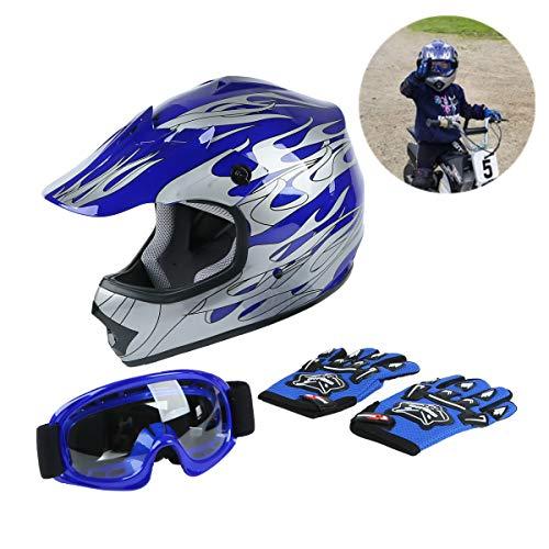 TCT-MT Youth Kids Helmet W/Goggles Gloves DOT Motocross Blue Silver Flame Helmet ATV Dirt Bike Off-Road Motorcycle Child Helmet Gloves Goggles (Small)