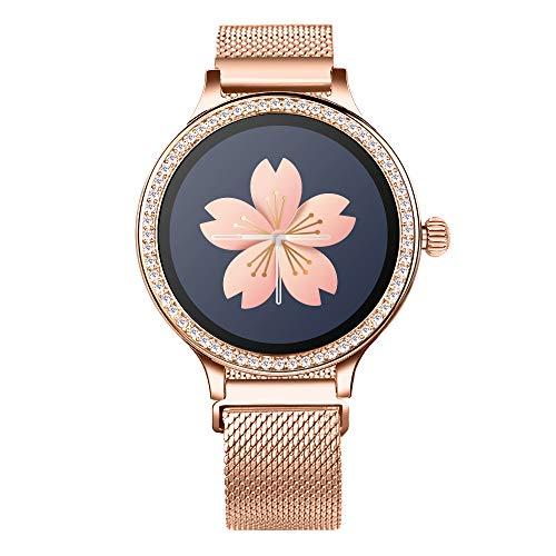 Smartwatch per Donna, Bluetooth Smart Watch Sportivo IP68 Impermeabile Orologio Intelligente Cardiofrequenzimetro Pedometro SMS Chiama Promemoria Fitness Tracker Smartwatch per Android e iOS (Gold)