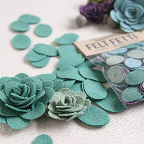 Felt-Fetti Ovals, Felt Oval die Cut Shapes for Flower Making in Four Colors (Succulents, Large)