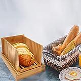 Bambus Holz Faltbare Brotschneidemaschine Kompakte Dicke Einstellbare Brotschneideführung mit Krümelfangschale für selbstgebackenes Brot, Faltbar und kompakt mit Krümelfangschale funktioniert - 7