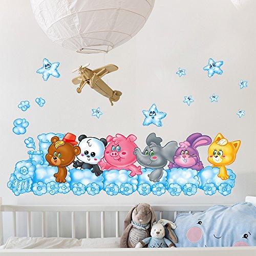 wall art RCC0021 Stickers muraux Effet Tissu Doux décoration Murale bébé Nouveau-né pépinière Chambre Maternelle Papier Peint adhésif - Animaux Ours en Peluche