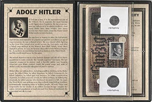 Hitler Third Reich Set of 3 Coins & 2 Notes From WWII ,Album,Story & Certificate.