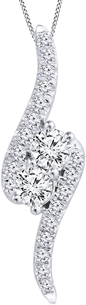 AFFY White Natural Diamond Bypass sold out Pendant Two-Stone OFFicial Necklace in