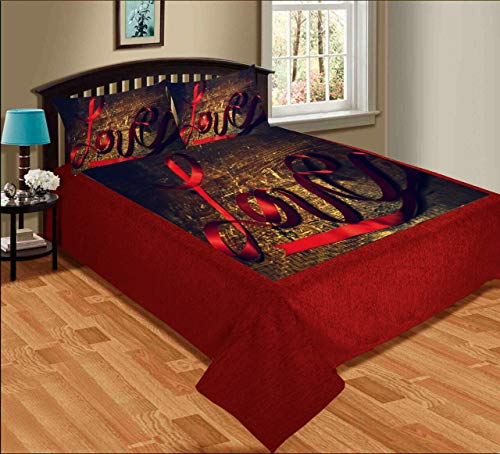 GS Traders™ Digital Love Print 300 TC Velvet Fabric Super Soft Touch King Size Double Bedsheet with 2 Pillow Cover (90 x 100 inch)