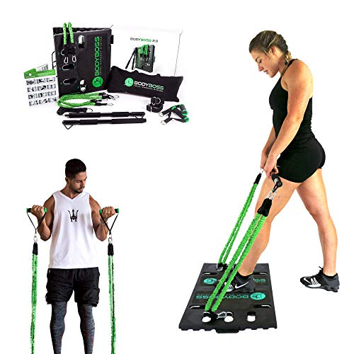 BodyBoss Home Gym 2.0 by 1loop - Portable Gym Workout Package + Extra Set of Resistance Bands (4) - for Full Body Strength Training Workouts at Home or Anywhere You Take it (Green)