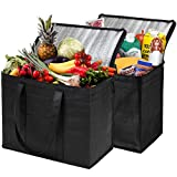 NZ Home XL Insulated Shopping Bags for Groceries or Food Delivery, Sturdy Zipper, Foldable,...