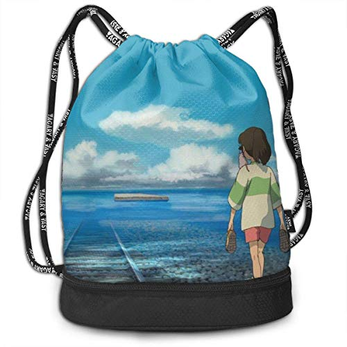 Spirited Away Drawstring Bapa Gym Sports String Bag for School Traveling Drawsting Bag Boys Girls Bapas Bags