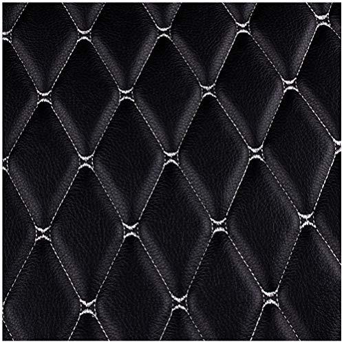 MAGFYLY Cuero para tapizar Cuero Tejido de Cuero Bordado Material de Decoración de la Pared de Fondo Cubierta del Asiento del Automóvil Tela de Tapicería del Vehículo - Negro (Size : 1.38×1m)