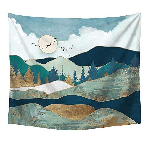 AdoDecor Mountain Tapestry Wall Hanging for Bedroom Sunset Wall Tapestry for Girls Dorm Room Nature Landscape 150x170CM