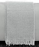 Zickzack Baumwolldecke, Plaid mit Fransen 140x200cm, Decke Baumwolle, Wohndecke, Kuscheldecke, Tagesdecke, Sofadecke (hellgrau zz)