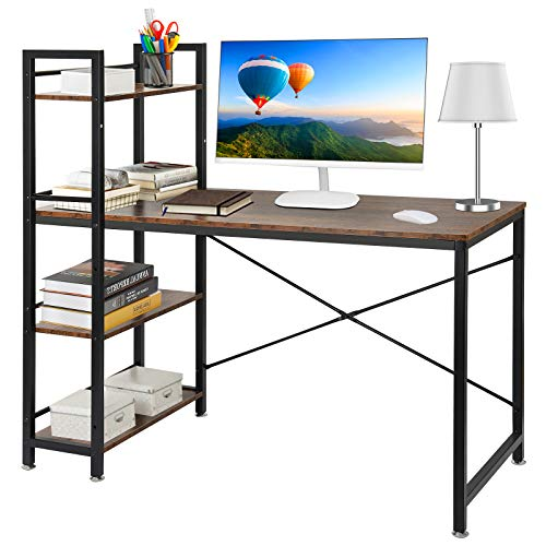 Computer Desk, Multifunctional Home Office Study Table Writing Desk with 4 Storage Shelves Industrial Wood Desk with Sturdy Metal Frame - Rustic Brown and Black - 120 * 55 * 122 cm
