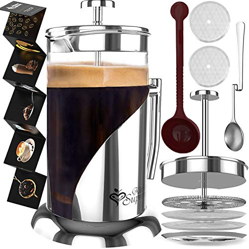 French Press Coffee Maker - 34 Oz, Large - The Only Encapsulated 304 Stainless Steel Lid NOT Plastic...