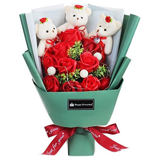 ソープフラワー ギフト 花束 プレゼント バレンタイン ホワイトデー誕生日 結婚祝い 母の日 卒業祝い 卒業式 ブーケ クマ くま LEDライト付き (レッド)