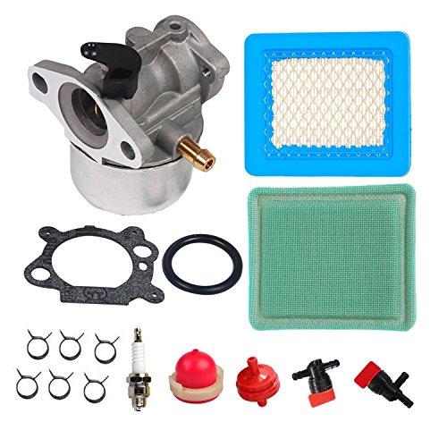 Oxoxo Carburateur avec filtre à air filtre à carburant Cut Off Vanne d'arrêt pour Briggs & Stratton 799868 498170 497586 498254 497347 497314 799872 790821 498255 498966 497410 4 5 6 7 HP