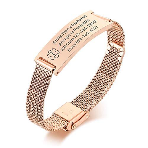 VNOX Medical Alert Bracelets for Men & Women with Free Engraving Adjustable Stainless Steel Mesh Emergency Medical ID Bracelets Wristband,Rose Gold