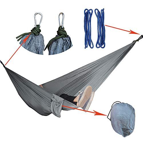 Camping en Plein air Portable Double hamac Vacances Plage Couleur Nylon Parachute hamac en Tissu