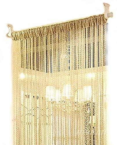 Senswalan 100cmX200cm Decorative Door String Curtain Wall Panel Fringe Window Room Divider Blind Divider Tassel Screen (Champagne)