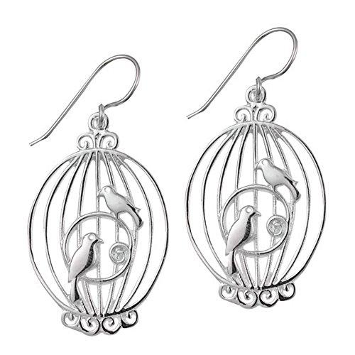 Chic-Net oorbellen kooi spiraal vogels zilveren oorbellen 925 sterling zilver dames oorbellen sieraden